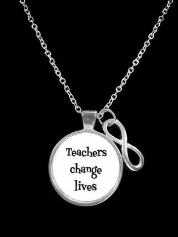 Infinity Teachers Change Lives Valentine's Gift For Teacher Necklace