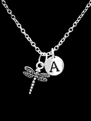 Choose Initial Letter Dragonfly Animal Insect Nature Gift For Her Necklace