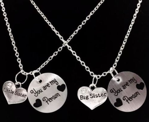 2 Necklaces You Are My Person Big Sister Little Sister Best Friends BFF  Set