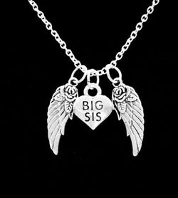 Big Sis Heart Sister Guardian Angel Wing In Memory Heaven Charm Necklace