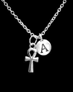 Choose Initial Letter Ankh Hook Cross Life Egypt Religious Gift Necklace