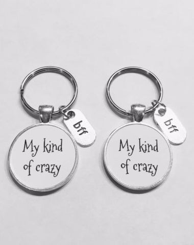 My Kind Of Crazy Bff Best Friends Christmas Gift Keychain Set