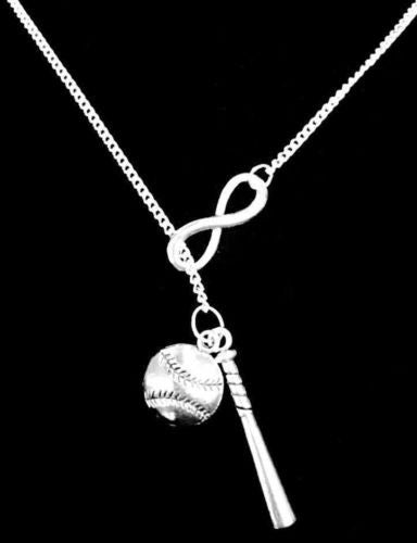 Infinity Baseball Bat Softball Sports Theme Allstar Mom Gift Lariat Necklace