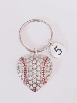 Number Baseball Heart Softball Sports Mom Mother's Day Gift For Her Keychain
