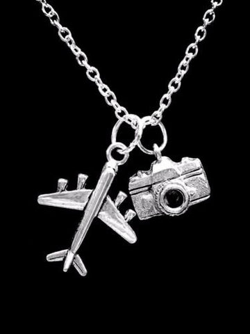 Camera Airplane Photography Travel Gift Charm Necklace