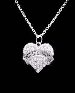 Crystal Police Mom Heart Law Enforcement Officer Mother Gift Charm Necklace