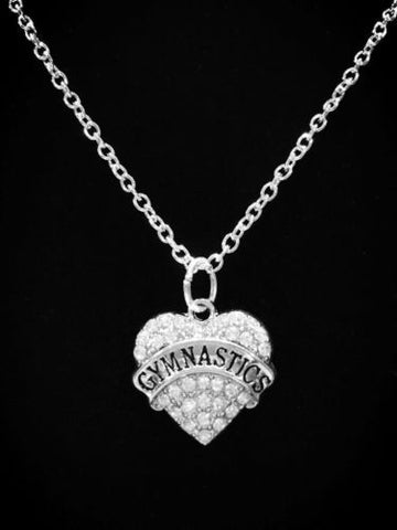 Crystal Gymnastics Heart Gift For Gymnast Sports Charm Necklace