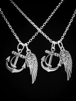 Anchor Angel Wing Best Friend Gift Sisters Mother Daughter Gift Necklace Set