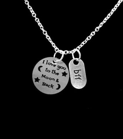 BFF I Love You To The Moon And Back Best Friend Friends Sisters Gift Necklace