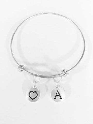 Adjustable Bangle Charm Bracelet Heart Initial Love Mother's Day Gift Wife Mom