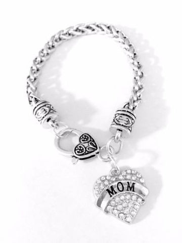 Crystal Mom Heart Valentine Mother's Day Gift Mother Charm Bracelet
