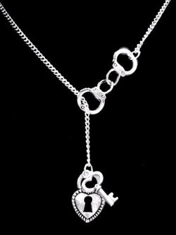 Handcuff Lock And Key To My Heart Police Officer Wife Lariat Valentine Necklace