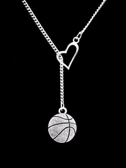Basketball Sports Mom Gift Heart Lariat Necklace