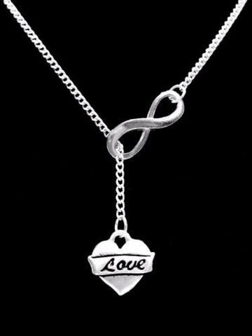 Love Heart Valentine Gift Wife Girlfriend Daughter Infinity Lariat Necklace