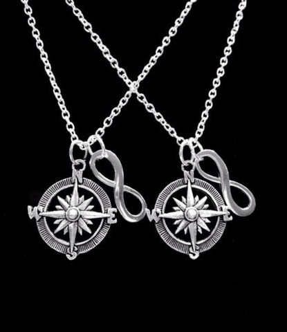 Infinity Compass Direction Sister Best Friends Couple's Gift Necklace Set