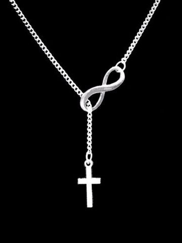 Infinity Cross Christian Faith Religious Lariat Gift Necklace