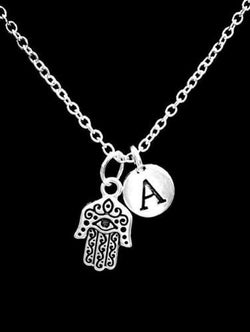 Choose Initial Letter Hamsa Hand Eye Jewish Religious Gift Necklace