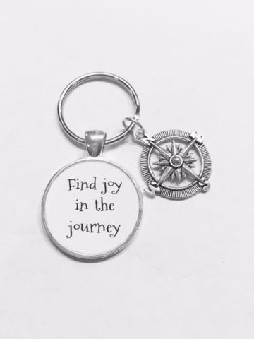 Compass Find Joy In The Journey Inspirational Nautical Graduation Gift Keychain