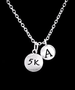 Choose Initial, 5K Sports Running Runner Marathon Gift Necklace