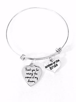 Mother Of The Bride Wedding Party Gift Adjustable Bangle Charm Bracelet