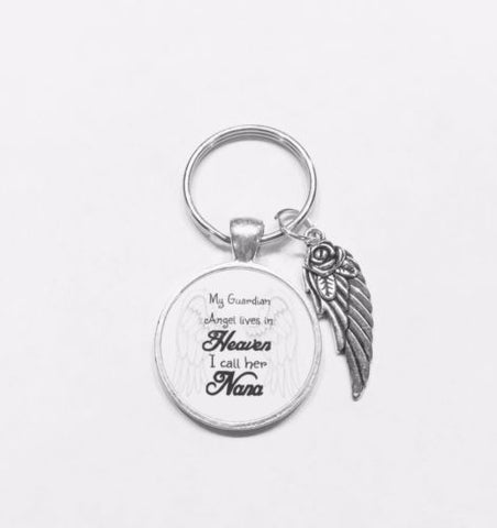 My Guardian Angel Lives In Heaven I Call Her Nana In Memory Wing Keychain
