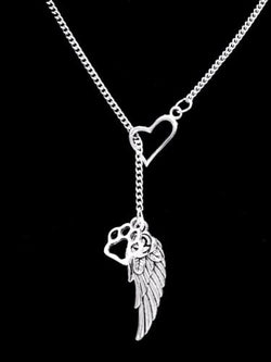 Paw Print Angel Wing Dog Cat Animal Lover Fur Baby Heart Lariat Necklace