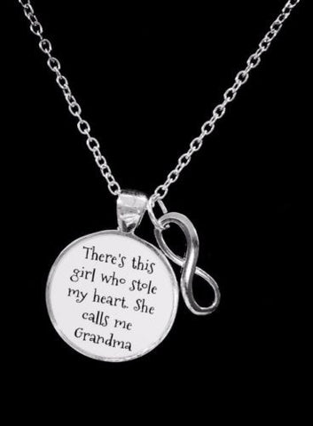 Grandma There's This Girl Who Stole My Heart Grandmother Gift Necklace