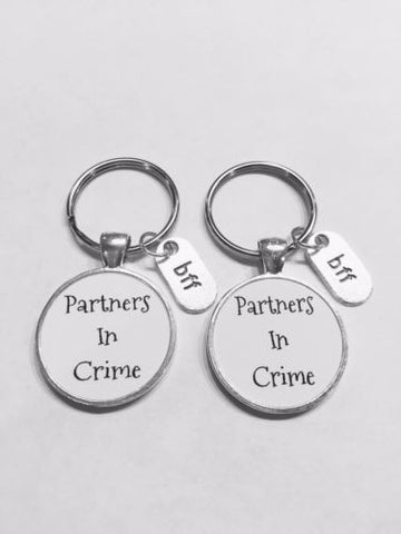 Best Friends Partners In Crime Bff Friend Gift Keychain Set