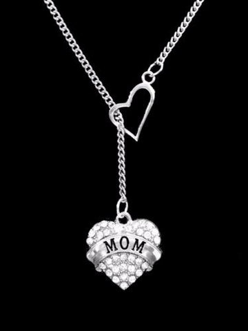 Crystal Mom Heart Mother's Day Valentine Gift Heart Lariat Necklace