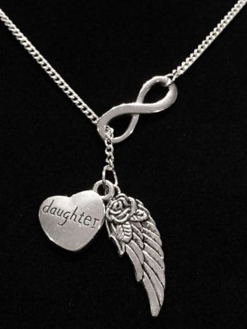 Guardian Angel Wing Daughter Infinity In Memory Heaven Y Lariat Necklace