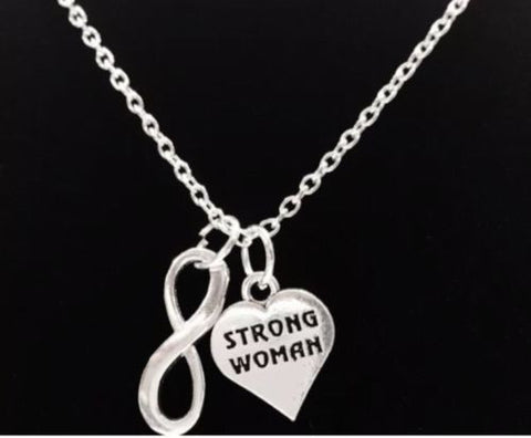 Inspirational Strong Woman Infinity Gift Motivational Crossfit Fitness Necklace