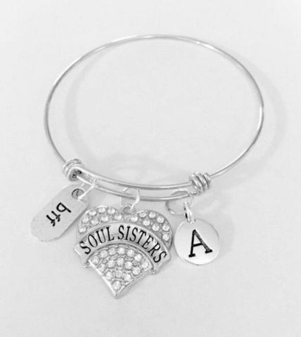 Initial Adjustable Bangle Charm Bracelet Soul Sisters BFF Best Friend Gift