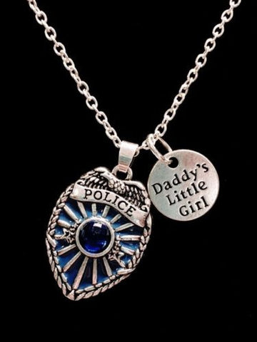 Blue Police Shield Badge Daddy's Little Girl Gift For Officer Daughter Necklace