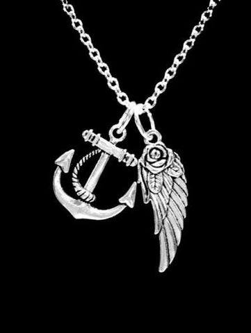 Anchor Angel Wing Best Friend Gift Sisters Mother Daughter Gift Necklace