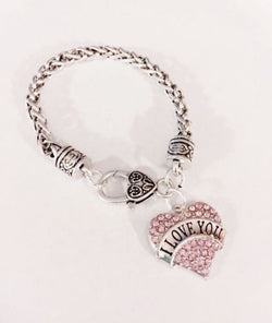 I Love You Crystal Pink Heart Gift Valentine Wife Girlfriend Charm Bracelet