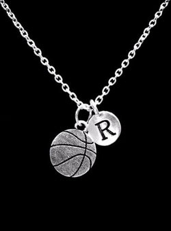Choose Initial, Basketball Sports Mom Gift Necklace