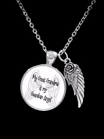 My Great Grandma Is My Guardian Angel Wing In Memory Heaven Remembrance Necklace
