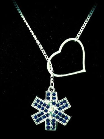 Heart Crystal Star Of Life Paramedic EMT EMS Wife Gift Lariat Style Necklace