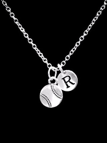 Choose Initial, Baseball Softball Sports Mom Gift Necklace
