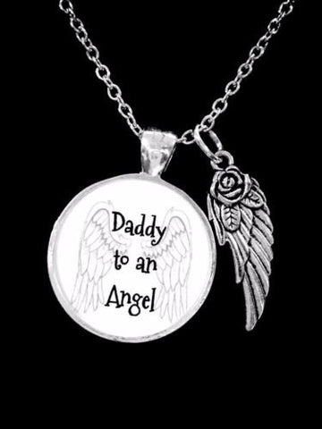 Daddy To An Angel Wing In Memory Remembrance Sympathy Gift Necklace