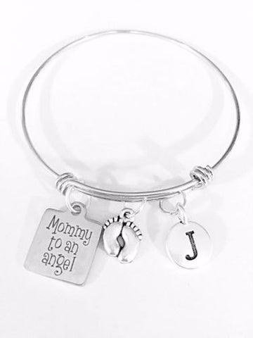 Mommy To An Angel Feet Mother's Day Initial Adjustable Bangle Charm Bracelet