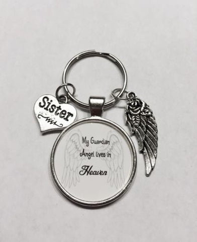 Sister My Guardian Angel Lives In Heaven In Memory Wing Sympathy Gift Keychain