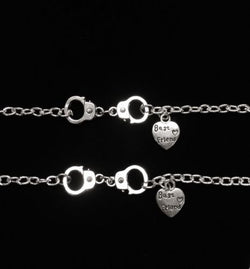 2 Bracelets Handcuff Partners In Crime Best Friends Friendship Set