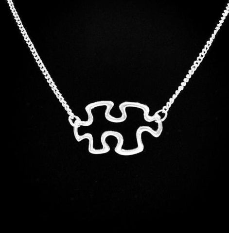 Hollow Autism Awareness Puzzle Piece Special Needs Necklace