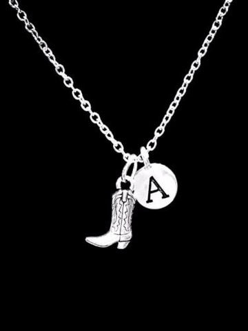 Choose Initial, Boot Cowboy Cowgirl Country Western Gift Necklace
