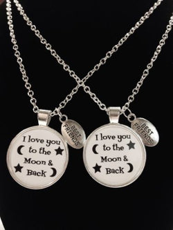 2 Necklaces I Love You To The Moon And Back Quote Best Friends Couple's Set