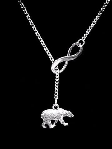 Polar Bear Animal Mama Bear Mother's Day Mom Gift Infinity Lariat  Necklace