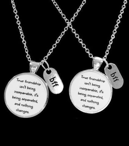 Best Friends True Friendship Long Distance Friend Sisters BFF Necklace Set