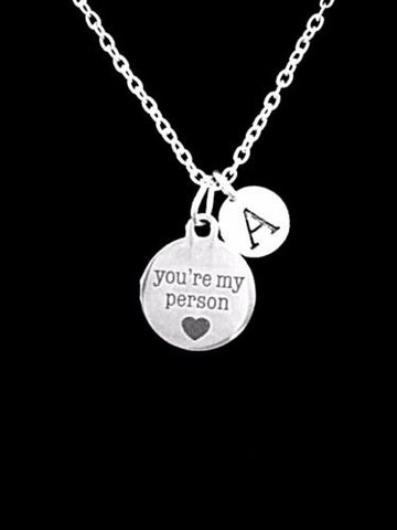 Initial You're My Person Best Friend BFF Friendship Sister Gift Charm Necklace