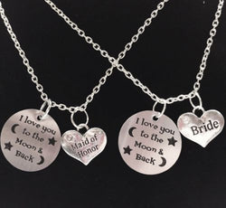 2 Necklaces Infinity I Love You To The Moon And Back Bride Maid Of Honor